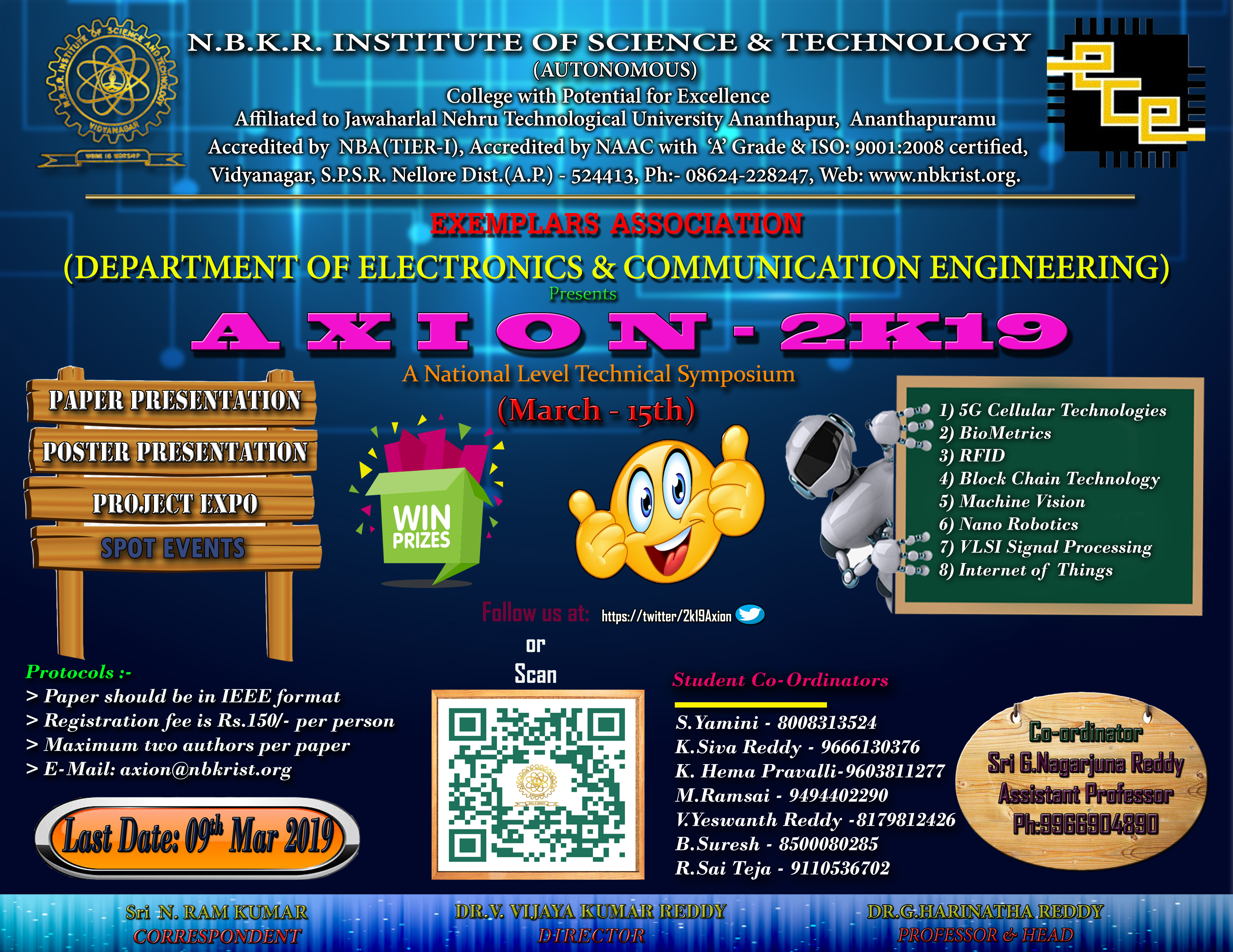 department of ece organizing axion 2019 a national level technical symposium on 15th march 2019